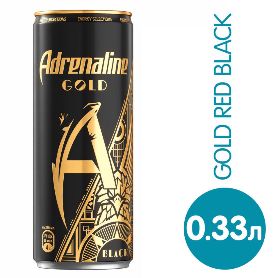 Напиток Adrenaline Gold Black  энергетический Шоколад-Корица-Орех 330мл