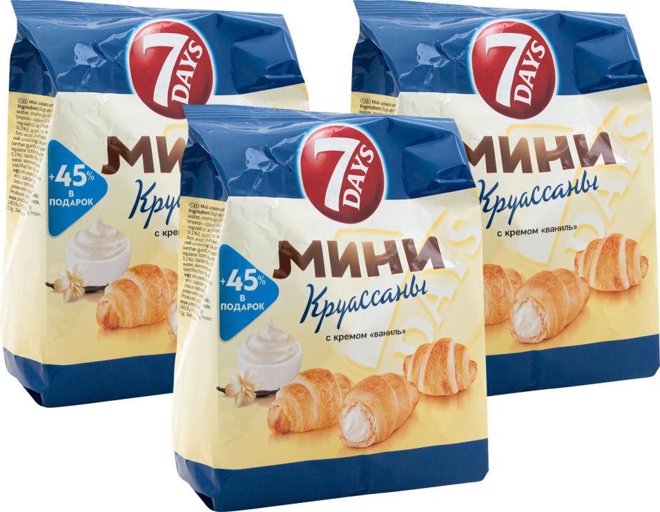 Мини-круассаны 7 Days с кремом Ваниль 105г (упаковка 3 шт.)