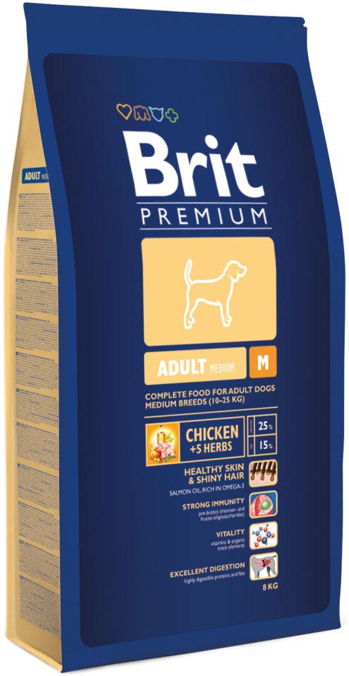 Сухой корм для собак Brit Premium Adult Medium с курицей 8кг