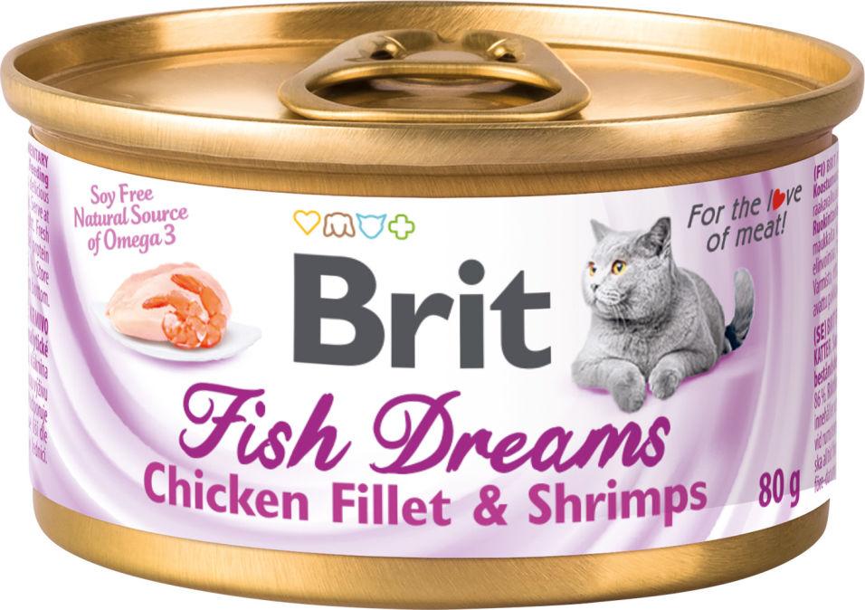 Корм для кошек Brit куриное филе и креветки 80г