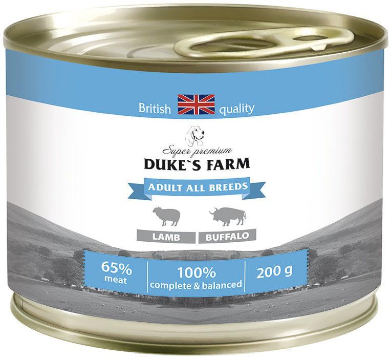 Корм для собак Dukes Farm Ягненок и буйвол 200г