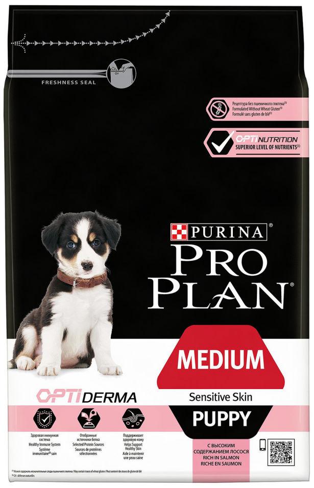 Сухой корм для щенков Pro Plan Optiderma Medium Puppy с лососем и рисом 3кг