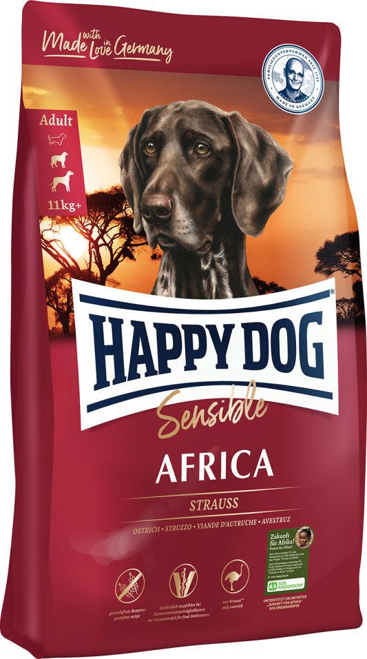 Сухой корм для взрослых собак Happy Dog Африка страус и картошка 4кг