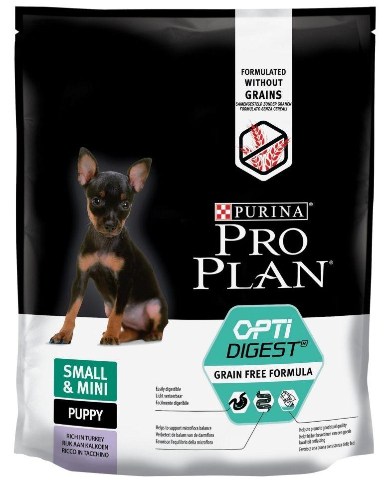 Сухой корм для щенков Pro Plan Grain Free Formula мелких и карликовых пород с чувствительным пищеварением с индейкой 700г