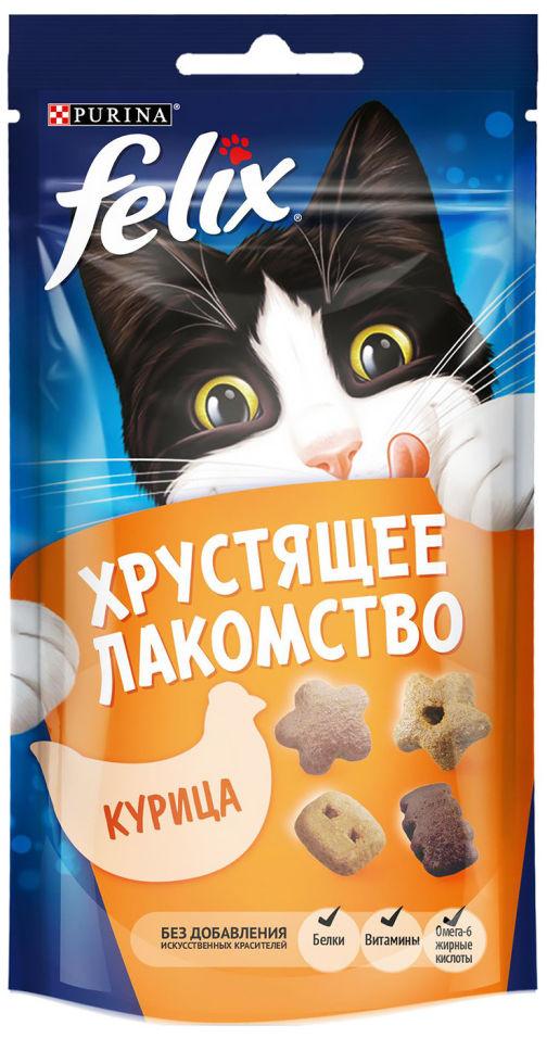 Отзывы о Хрустящем лакомстве для кошек Felix с курицей 60г