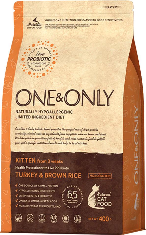Сухой корм для кошек One&Only Kitten индейка с рисом 400г