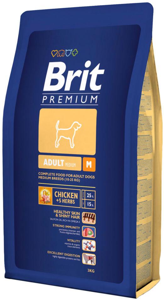 Отзывы о Сухом корме для собак Brit Premium Adult Medium с курицей 3кг