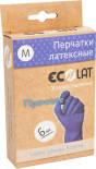 Перчатки EcoLat Хозяйственные латексные синие размер M 6шт