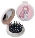 Расческа для волос Bradex Розовая русалка складная с зеркалом