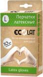 Перчатки EcoLat латексные белые размер L 10шт