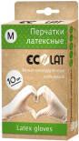 Перчатки EcoLat латексные белые размер M 10шт