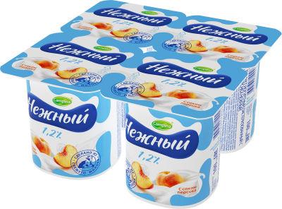 Продукт йогуртный Campina Нежный с соком персика 1.2% 4шт*100г
