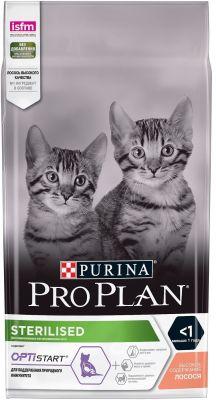 Сухой корм для стерилизованных котят Pro Plan Optistart Sterilised Kitten с лососем 1.5кг
