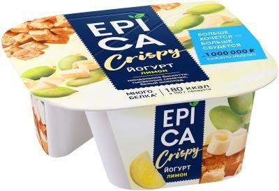 Йогурт Epica Crispy Лимон 4.8% + Смесь из семян тыквы печенья и белого шоколада 140г