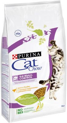Сухой корм для кошек Cat Chow Hairball Control с домашней птицей 15кг