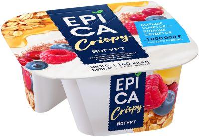 Йогурт Epica Crispy Натуральный 6% + Смесь из мюсли и сушеных ягод 140г