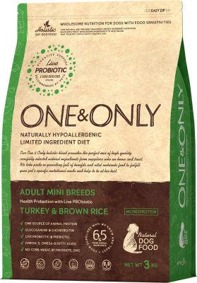 Сухой корм для собак One&Only Adult mini индейка с рисом 3кг