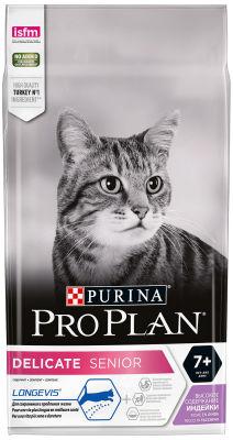 Сухой корм для пожилых кошек Pro Plan Longevis Delicate Senior 7+ для чувствительного пищеварения с индейкой 1.5кг